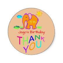 Rainbow Elephants Kid's Name & Age Birthday Thanks Classic Round Sticker