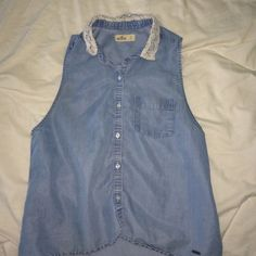 denim tank from hollister, has a pretty flower lace collar and its button down Hollister Tops Tank Tops