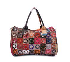 Handmade leather bag Sheep leather bag Flowers Stitching bag Women's bag