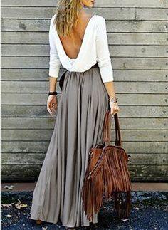 Polyester maksi gündelik Uzun kollu İçi boş Renkli klişe Elbiseler