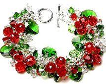 Swarovski Crystal Christmas Bracelet, Red, Green, Clear, Silver Charm Bracelet, Festive Red Berry, Green Holly Leaf, Holiday, Christmas Gift