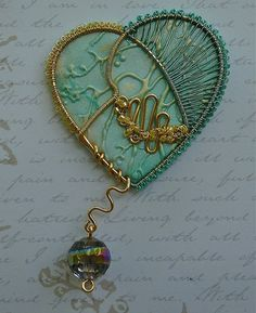 Mixed Media Colored Wire  Polymer Clay Heart