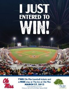 Repin to win two FREE Ole Miss baseball tickets (Wednesday, March 27 game) and a FREE stay at the The Inn at Ole Miss following that evening's game. Must repin from http://pinterest.com/olemiss (Gameday board) to be entered to win!