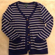 LAUREN Ralph Lauren cardigan 100% cotton cardigan, front pockets and beautiful buttons, none missing. Lauren Ralph Lauren Sweaters Cardigans