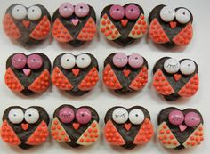 Valentines Day Owls - made with York Peppermint hearts, M&M's, tootsie rolls & sprinkles!