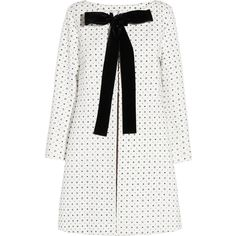 Miu Miu Velvet-trimmed printed cotton coat (74.275 RUB) ❤ liked on Polyvore featuring outerwear, coats, jackets, dresses, white, leather-sleeve coats, print coat, pattern coat, miu miu and cotton coat
