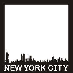 Want2scrap  New York City Skyline - 12x12 Overlay  Scrapbook laser design page layout