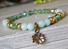 Lotus Charm Bracelet with Amazonite Gemstones