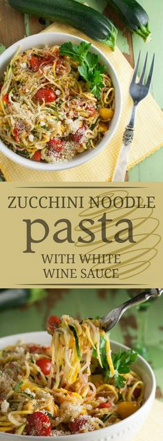 Zucchini Noodles with White Wine Sauce - The Pasta Shoppe Yummy Pasta Recipes, Cooking Recipes, Noodle Recipes, Rice Recipes, Cooking Ideas, Fall Recipes, Chicken Recipes, Healthy Dishes, Healthy Eating