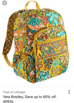 Vera Bradley Campus Backpack in Provencal Pattern. Louis Vuitton Handbags, Tote Handbags, Crossbody Bags, Vera Bradley Laptop Backpack, Yellow Backpack, Yellow Purses, Cute Backpacks, School Backpacks, Little Bag