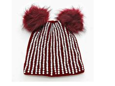 """Women's Burgundy Double Pom Pom Crystal Knit Beanie Hat    • Style No : W312908  • Size : 8"""" W, 12"""" L  • Material : Acrylic  • Double pom pom crystal knit beanie hat    EXCELLENT QUALITY -  THIS BEANIE IS HOT!    **Limited Supply - Hurry** 