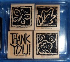 Scrapbooking Stampin' Up  WONDERFUL WOODCUTS 4 Rubber Stamps 2001 Retired TA1 #StampinUp