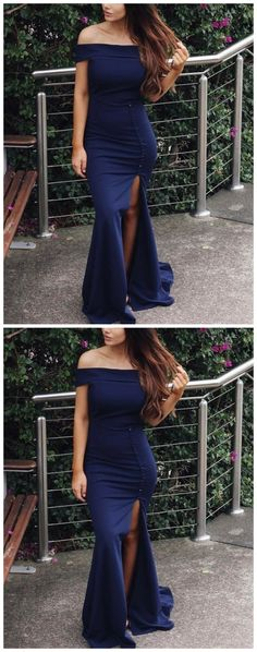 Mermaid Off-the-Shoulder Sweep Train Navy Blue Satin Prom Dress with Split,, Classy Prom Dresses, Navy Blue Prom Dresses, Prom Dresses 2018, Strapless Dress Formal, Dress Stores Near Me, Prom Dress Stores, New Party Dress, Party Dresses, Marine Uniform