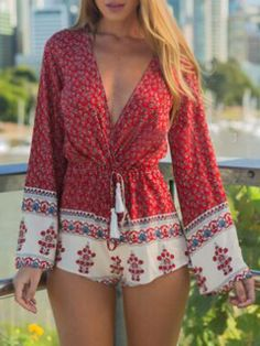 Red Deep V Neck Folk Print Drawstring Waist Romper Playsuit