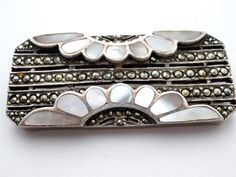 Inlay Mother of Pearl Marcasite Sterling Silver Vintage Estate Deco Style Brooch | eBay