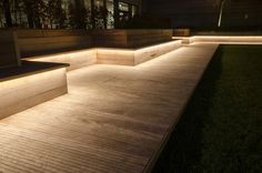 Latest little project completed is an area at Paddington, London which we integrated LED strips into the underside of the timber seating and up-lit the trees. The space is used for an outdoor cinema in the summer, with the gap in the centre of the seating where the temporary screen is set up. People park up on the grass in deck chairs and watch the films. The tree lighting is dimmable to set the mood once the film starts. Simple, yet effective.