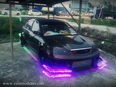 Honda Civic kitted out with its bright neon lights Body Kits, Neon Lighting, Honda Civic, Jdm, Lights, Full Body, Sick, Cars, Autos