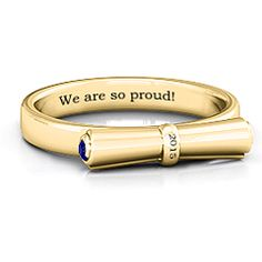 The 'Diploma Scroll' Graduation Ring. Engrave the year, a special message, choose your metal and your stones. A gift for any grad of any program. #graduationgift #jewlr