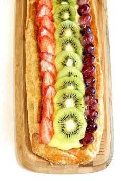 Butterdeig fylt med frukt Hot Dog Buns, Hot Dogs, Delicious Food, Tapas, Bread, Ethnic Recipes, Gourmet, Yummy Food, Brot