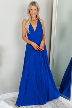V-neck Gown Royal Blue