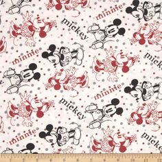 Disney Minnie & Mickey Flannel Editorial White from @fabricdotcom  Designed by Disney and licensed to Springs Creative Products, this cotton print is perfect for quilting, apparel and home decor accents.  Colors include black, white and red.