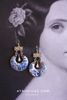 Willow Spode Minton Chinoiserie China Portugal Antique Azulejo Tile Replica Chandelier Earrings, Blue  Dish Porcelain 925 Silver Ear wire