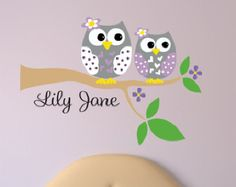 Personnalisé branche d'arbre de Decal - Stickers muraux de hibou - Owl avec Owl Sisters wall Decal.