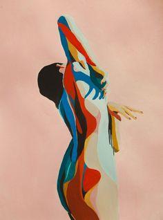 art inspo Rocio Montoya on Behance Body illustration. Gouache and watercolor. Wood Art Design, Painting Inspiration, Art Inspo, Watercolor World Map, Figurative Kunst, Art Diy, Art Studies, Chalk Art, Aesthetic Art