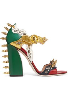 Heel measures approximately 110mm/ 4.5 inches Multicolored leather  Buckle-fastening ankle strap Come with dust bags Made in Italy