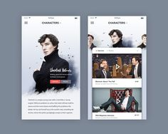 TV Show Characters page : Mobile designed by Mika. Connect with them on Dribbble; Web Design, App Ui Design, User Interface Design, Flat Design, Design Layouts, Design Thinking, Mobiles Webdesign, Ui Design Mobile, Tv App