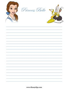 """""""Princesses"""": """"Belle"""" from """"Beauty & The Beast"""", as courtesy of Walt Disney Free Printable Business Cards, Free Printable Stationery, Printable Recipe Cards, Cruise Scrapbook Pages, Disney Scrapbook, Scrapbooking, Disney Writing, Disney Frames, Printable Lined Paper"""