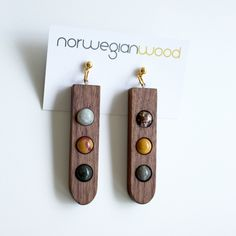 Wood and Multi Stone Earrings from the Palette collection - Norwegian Wood x Devin Barrette Collaboration. $65.00, via Etsy.
