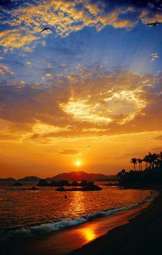 #Acapulco contemplando un atardecer desde sus hermosas playas