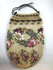 Antique Edwardian Micro Bead Rose Floral Wreath Beaded Handbag Purse