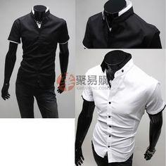 立领男士修身短袖衬衫 $6.99