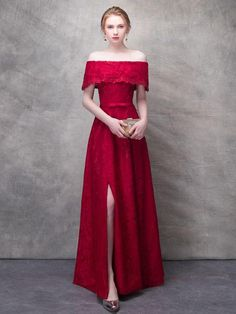 Chic / Beautiful Burgundy Split Front Evening Dresses 2017 A-Line / Princess Lace Flower Rhinestone Bow Off-The-Shoulder Backless Short Sleeve Ankle Length Formal Dresses A Line Prom Dresses, Beautiful Prom Dresses, Prom Party Dresses, Cute Dresses, Evening Dresses, Dress Prom, Summer Gowns, Long Dresses, Formal Dresses