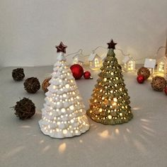 Ceramic Christmas Decorations, Christmas Tree On Table, Christmas Table Centerpieces, Lantern Centerpieces, Ceramic Christmas Trees, Christmas Gifts For Mom, Candle Lanterns, Xmas Tree, Xmas Decorations