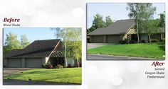 Before & after of a Gerard Stone Coated Steel Roof. Profile: Canyon Shake. Color: Timberwood.