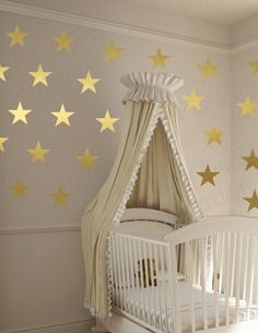 Vinyl Wall Thin Star Decals (Metallic Gold, Silver, Copper, Mint, Turquoise, Red, Purple, Blue, Yellow, White, Other Colors Available)