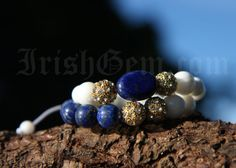 "Gemstone bracelet ""Côte d'Azur"" - Made of White Coral and Lapis Lazuli. Lapis Lazuli is a powerful aphrodisiac which brings harmony in relationships. Lapis Lazuli, Provence, Coral, Beaded Bracelets, Stud Earrings, Gemstones, Collection, Jewelry, Jewlery"
