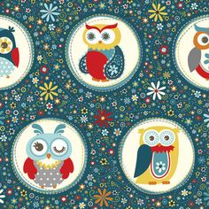 Adorn It Nested Owls in Charcoal - Quilters Cotton - 5 inch tall owls - cotton fabric - Owl Theme Fabric - Adornit Owls - by the yard