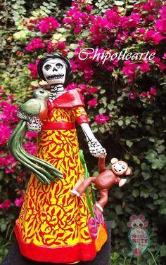 Catrina, mono y quetzal