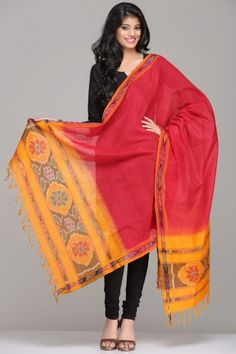 Ravishing Red Green Cotton Bagh Dupatta With Phulkari Embroidery