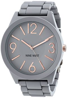 Amazon.com: Nine West Women's NW/1678GYRG Matte Grey Rubberized Bracelet Watch: Watches