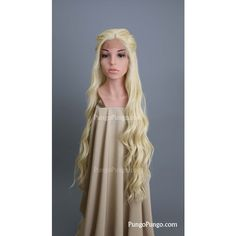 Daenerys Targaryen Costume Wig Platinum Blonde Lace Front Long Curly... ($145) ❤ liked on Polyvore featuring costumes, bath & beauty, grey, hair care, wigs, princess costumes, party halloween costumes, renaissance fair costumes, masquerade party costumes and queen halloween costumes