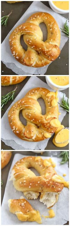 Rosemary Sea Salt Pretzels with Cheese Sauce on http://twopeasandtheirpod.com These pretzels are so easy to make at home!
