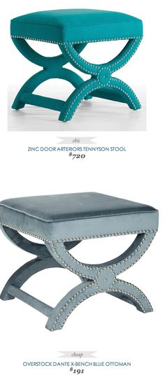 Copy Cat Chic Find | ZINC DOOR ARTERIORS TENNYSON STOOL vs OVERSTOCK DANTE X-BENCH BLUE OTTOMAN