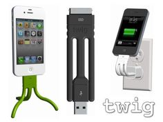 The Twig lets you stand up your iPhone on a flexible tripod, hold it in place with a portable easel, suspend it from a power outlet with a sturdy stalk, wrap your earbuds around it, or just impress people with your choice of a rainbow of colors. It's a Kickstarter project that asks for a pledge of $18, or for $20, you get your choice of colors. Great idea.