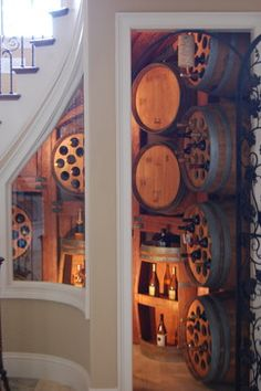 Improve the decor of your room simply and inexpensively with faux wood beams™. Easy to install and lightweight, you won't be able to tell the difference from real wood beams. Wine Shelves, Wine Storage, Alcohol Storage, Wine Bistro, Wine Cellar Design, Faux Wood Beams, Wine Decor, Italian Wine, Under Stairs