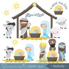 Nativity clipart, Nativity clip art, Christmas clipart, Baby Jesus, Religious, Wise men, Digital Clipart, Commercial License Includ